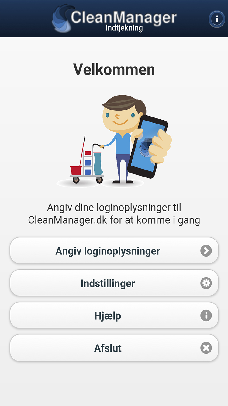 CleanManager app forside