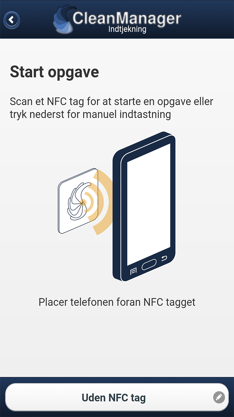 CleanManager app start opgave med NFC